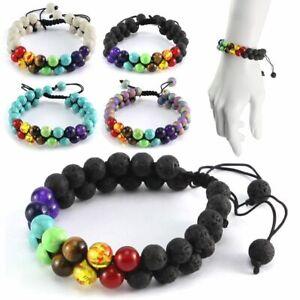 7 Chakra Healing Bracelet Handmade Volcanic Lava Stone Mala Meditation Beads US