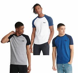 Cuello-redondo-para-hombre-Superdry-Orange-Label-de-Mangas-Cortas-Camiseta-De-Beisbol-Gris-Blanco