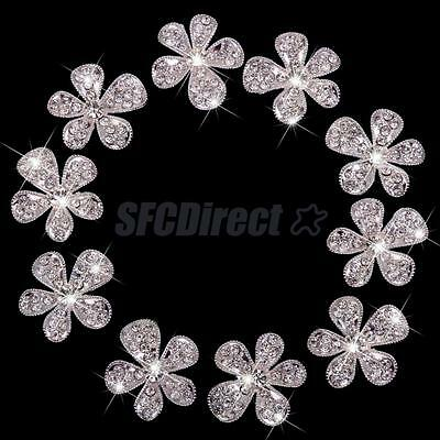 10Pcs Alloy Crystal Flower Embellishment For Cell Phone Case Shell Deco Kit