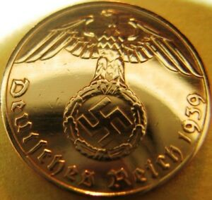 Nazi-German-1-Reichspfennig-1939-Genuine-Coin-Third-Reich-EAGLE-SWASTIKA-RARE
