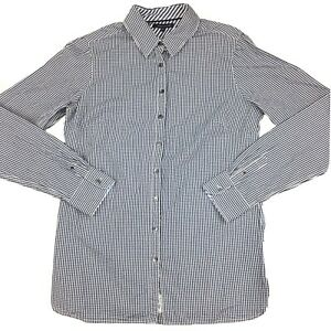 Tommy Hilfiger Women's Button Up Long Sleeve Blue and white Check Shirt Size 10