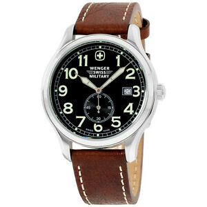 Wenger-Swiss-Military-Black-Dial-Leather-Strap-Men-039-s-Watch-79309C