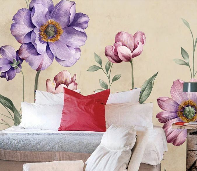 3D Pourpre Fleur 46 Photo Papier Peint en Autocollant Murale Plafond Chambre Art