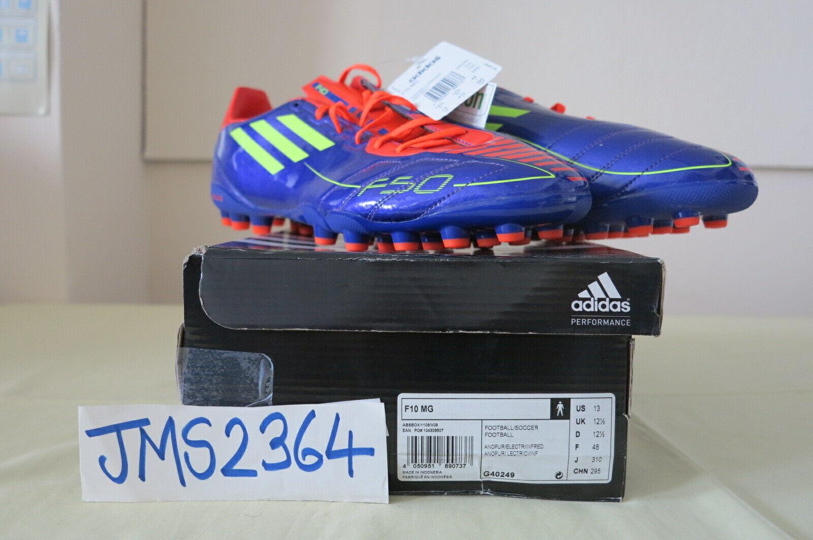 Adidas Performance F10 mg multigroung Morado Rojo botas De Fútbol US13 UK12.5