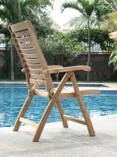 """11-Pc Outdoor Teak Dining Set: 117"""" Masc Rectangle Table 10 Reclining Chairs Ash 9780811423717"""