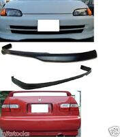 92-95 Civic 4 Door Type R Style Pu Black Add-on Front + Rear Bumper Lip Spoiler