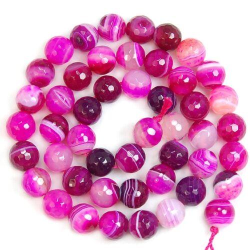 15 Inch Magenta Striated Agate Gemstone Round Beads 4mm 6mm 8mm 10mm 12mm 14mm