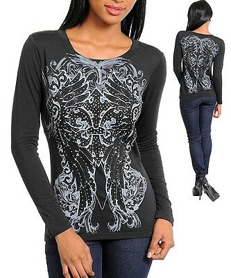 XSmall N04 Black,Wings Tattoo Print with Rhinestones Stretch,Cotton Top