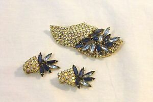 Vintage-Cut-Rhinestone-Brooch-amp-Earrings-Blues-Clear-Beautiful