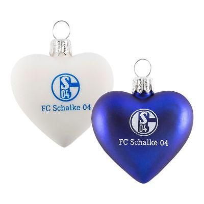 Weiß Christbaumschmuck Weihnachten 11941 FC Schalke 04 Glas-Herz 2er Set Blau u