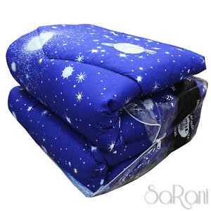 Colcha-De-Invierno-Edredon-Moderno-Doble-Fantasia-Cielo-Azul-Estrellas-Asters