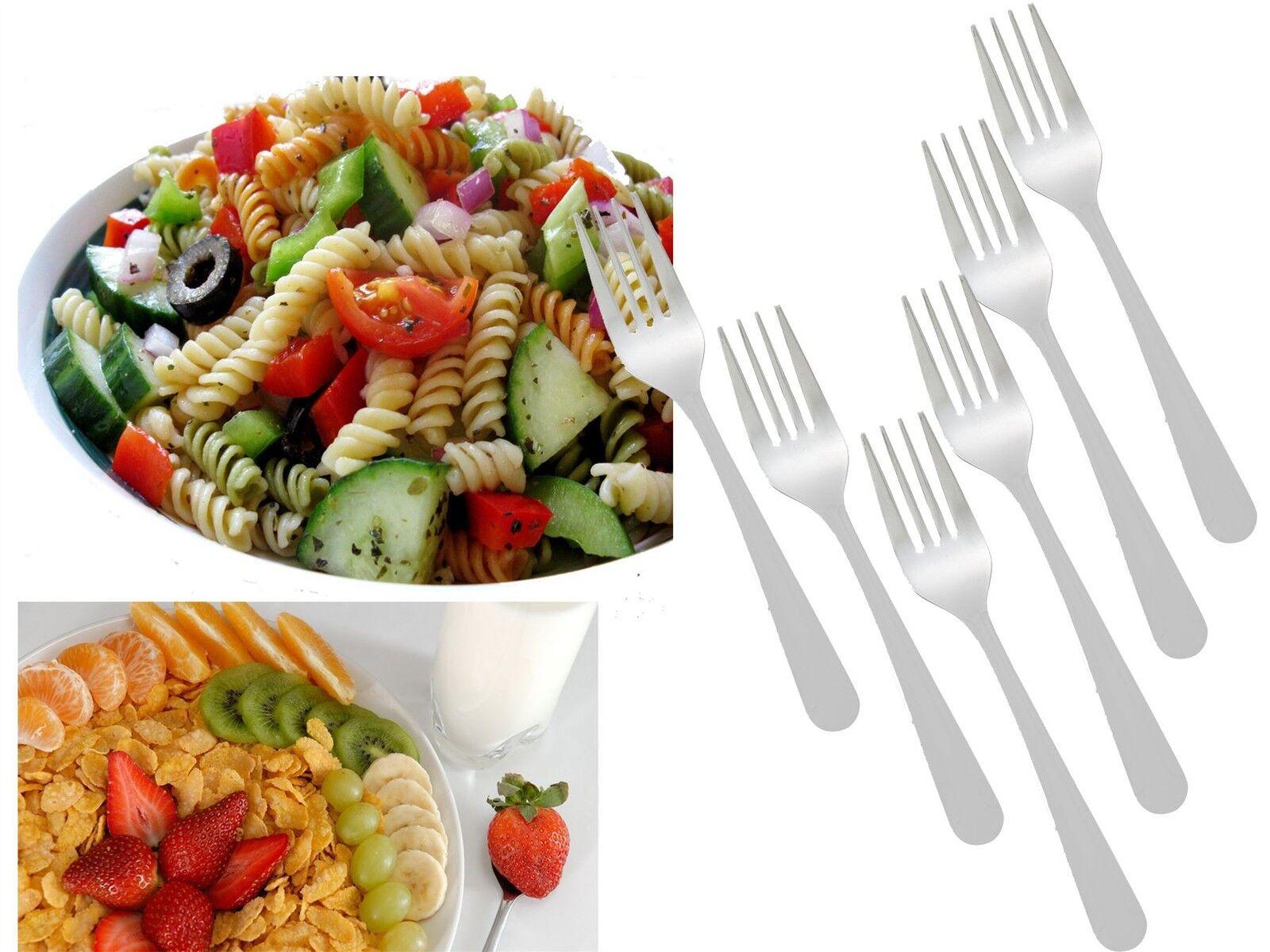 Set of 12 Stainless Steel 6 Tea Spoon /& 6 Forks Salad Fruit Snacks Cake 12cm