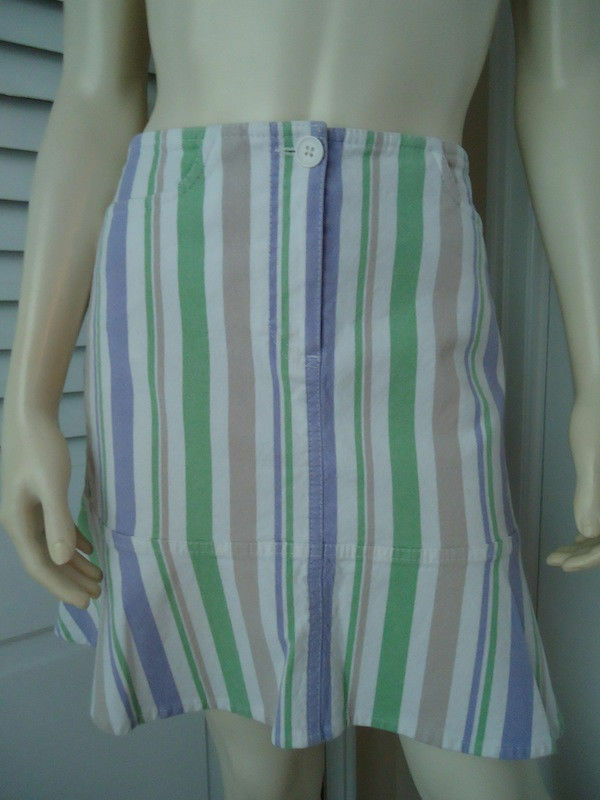 ANN TAYLOR LOFT Skirt 4 Cotton Spandex Lavender Tan Green White Flirty Flare