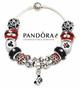 Details about Authentic Pandora Charm S925 ALE Bracelet with Disney Mickey  Minnie Mouse Beads