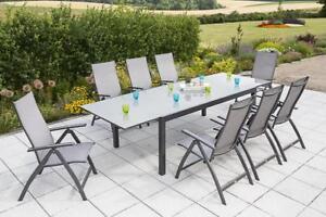 Gartenmöbel set alu 9 teilig  Merxx Gartenmöbel-Set 7 Trivero 9-teilig, Aluminium/Textil, Graphit ...