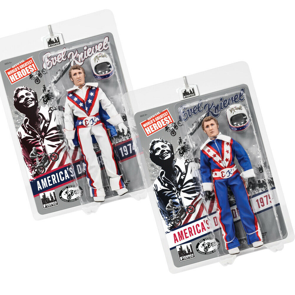 Evel Knievel 8 Inch Action Figures Series 1 Re-Issue  Set of 2 Figures