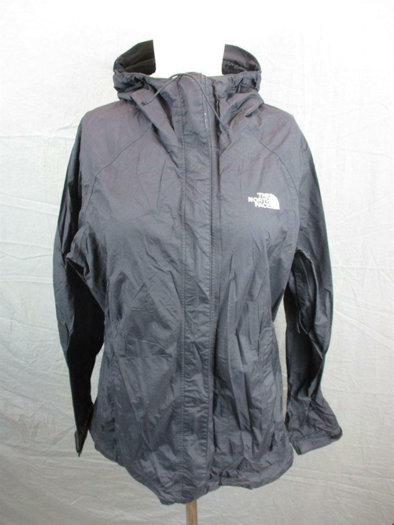 The North Face Size M Womens Black Full Zip HyVent 2.5L Hooded Rain Jacket T266