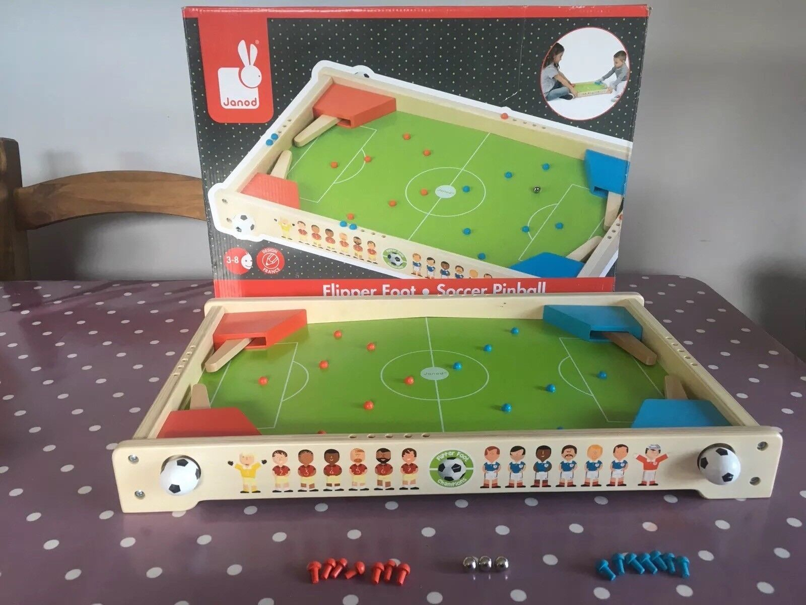 Jura Toys Janod Soccer Pinball Wooden Table Football Toy Complete VGC