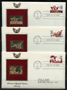 UNITED-STATES-1983-SUMMER-OLYMPICS-GOLD-REPLICA-DIFFERENT-FIRST-DAY-COVERS