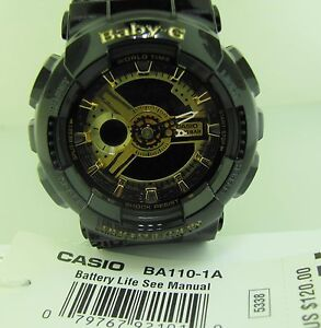 85cc0abe93e1 BABY G Casio BA110-1A Analog-Digital Black Gold 3D Face Resin strap ...