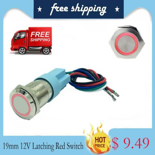 19mm Momentary Push Button Switch 12V LED Ring with Pigtail plug