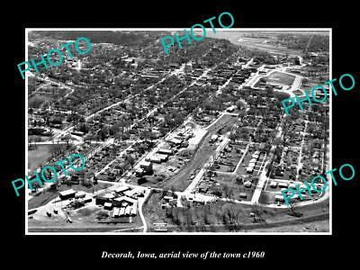 Old Large Historic Photo Decorah Iowa Collectables Aerial View Of The Town C1960