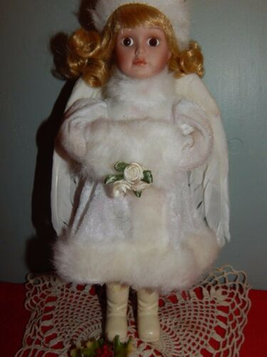 "Porcelain Angel Doll 10"" Blond Girl Brown Eyes w Feather Wings EUC"