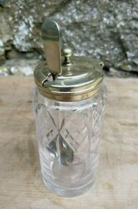 Vintage-Glass-Mustard-Pot-With-White-Metal-Hinged-Lid-And-Spoon