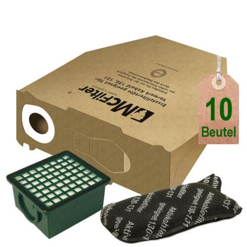 10 Staubbeutel Filtertüten Filter geeignet für Vorwerk Kobold VK 130 131 EB