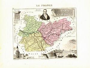 Carte Du Département Du Tarn Et Garonne, Vers 1874. Migeon