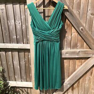 John-Lewis-Emerald-Green-Satin-Franchesca-Prom-Midi-Dress-Size-8-VGC