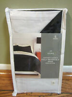 Nip $30 Jcpenney Home Reversible White Black Cotton Pillow Sham Standard