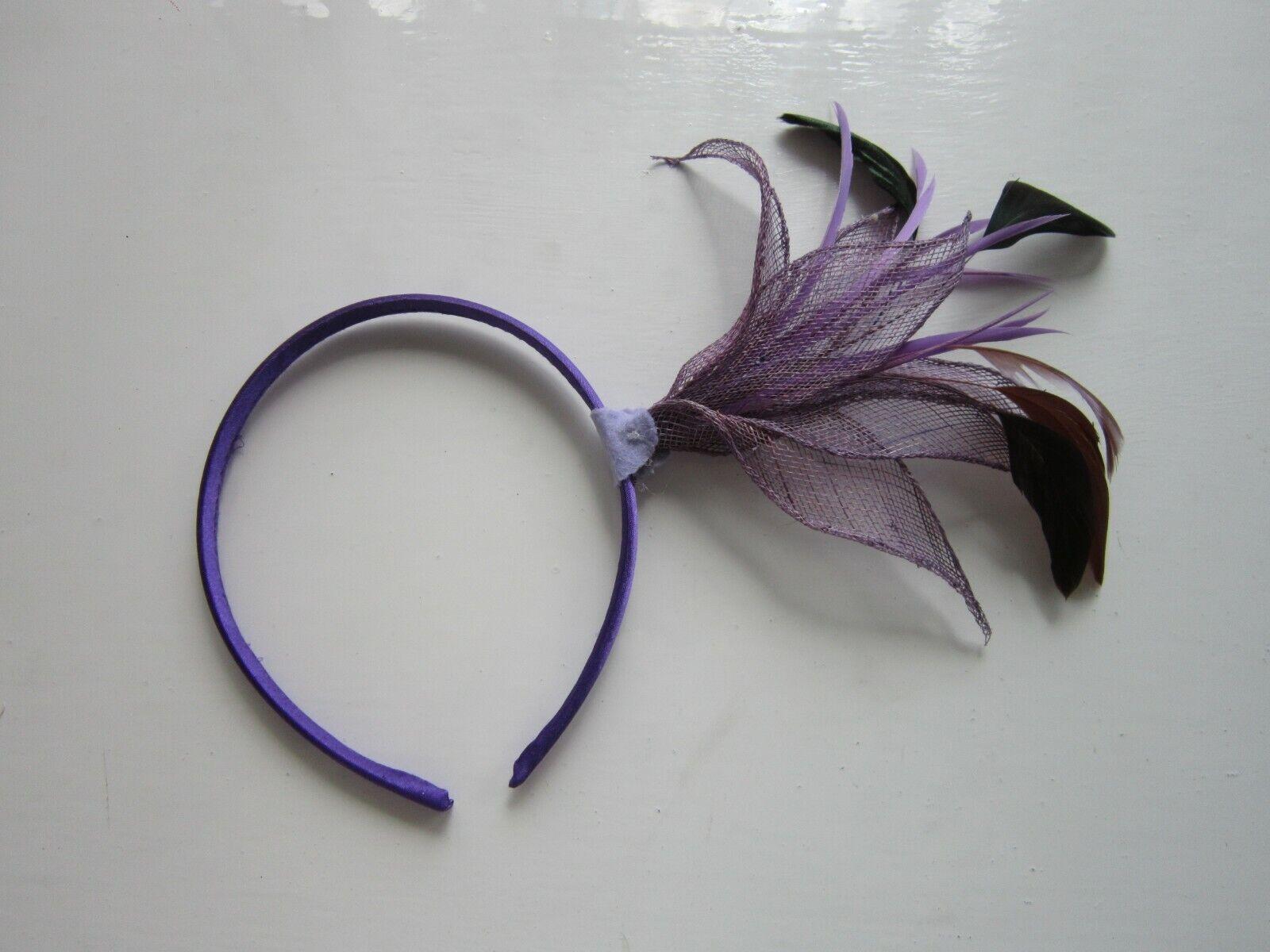 FASCINATOR | Purple | Sinamay | Feathers | Hairband | Wedding Prom Races (58A)