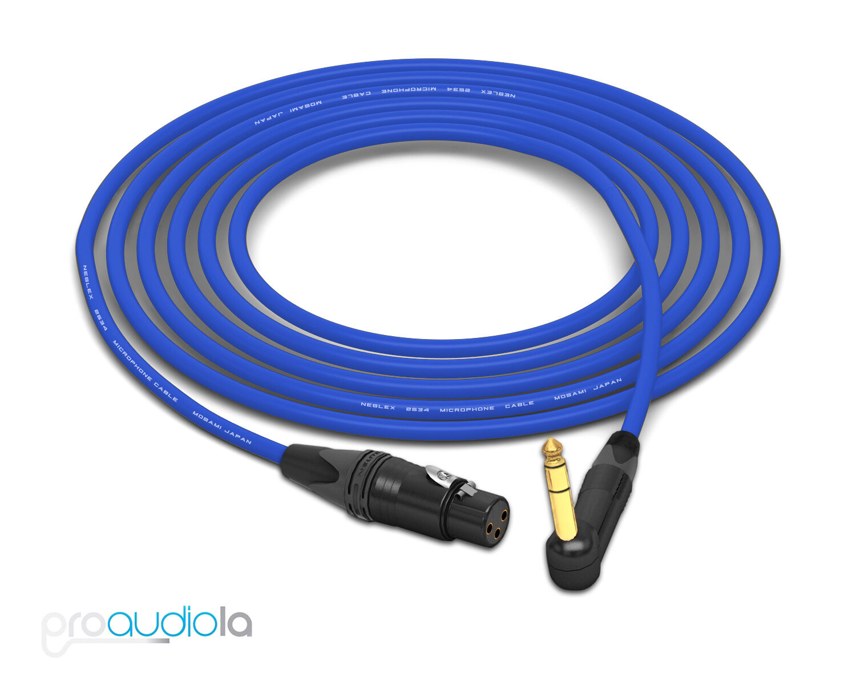 Cable Cable Cable de cuatro Mogami 2534   Neutrik 90 o Trs A Xlr oro-HEMBRA   Azul 12 pies 12'  calidad fantástica
