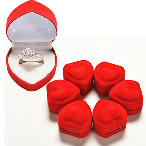 3x heart shaped ring box red love heart storage box