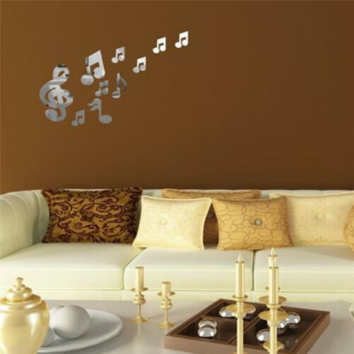 Wall Mirror Decal Decor Music Note Home Sticker Acrylic Art 3D Removable Mural Q