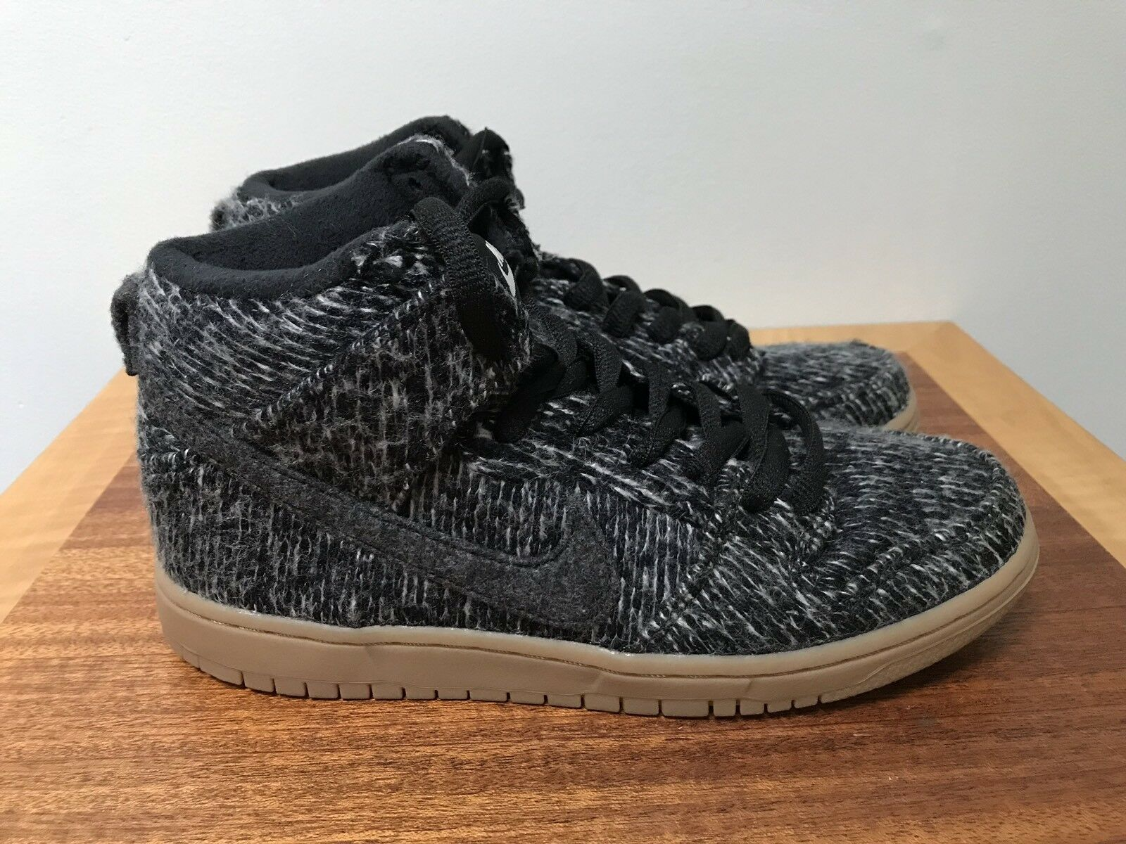 NEW Nike SB Wool Dunk Warmth Pack BLACK GUM GUM GUM Oreo Hi Tops shoes Men's 6 07b191