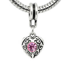 Pink October Birthstone Heart Dangle Bead for European Charm Bracelet