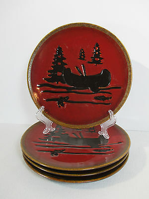 Home Studio Woodland Dinner Plates Canoe Fish Pine Trees Set of 4 Cabin Decor
