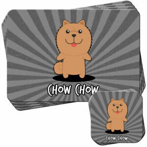 Chow-Chow-Chowdren-Set-of-4-Placemats-and-Coasters