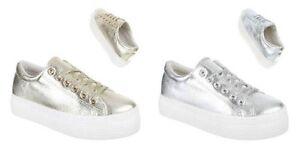Dettagli su Sneakers donna scarpe sport passeggio tennis zeppa color oro e argento Nuovo