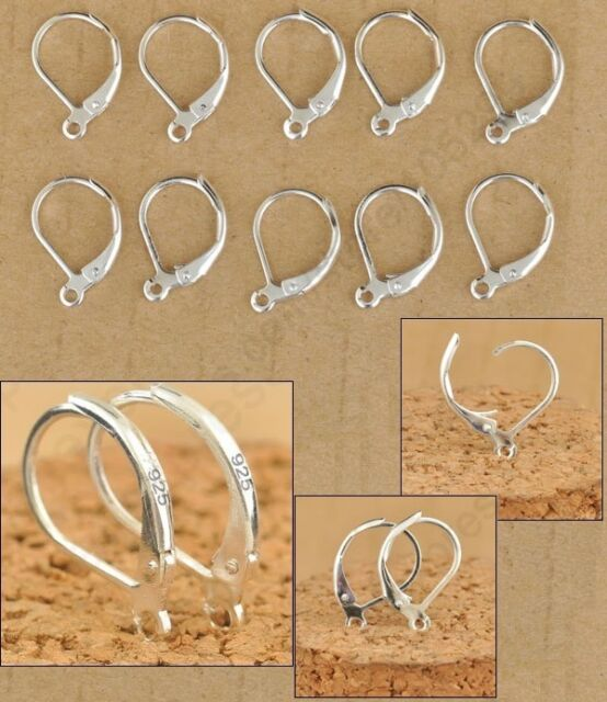 925 Sterling Silver Stamped Leverback Earrings Findings Earwire Wires Hooks DIY