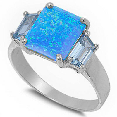 NEW BEAUTIFUL BLUE AUSTRALIAN FIRE OPAL & CZ .925 Sterling Silver Ring Size 5-10