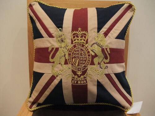 """18 /""""Vintage Royal Crest crown /& lion Union Jack Drapeau UK Coton Tissé Coussin"""