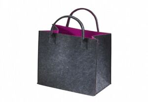 Einkaufstasche-Filz-Stoff-Tasche-Shopper-Filztasche-Einkaufs-Korb-grau-fuchsia