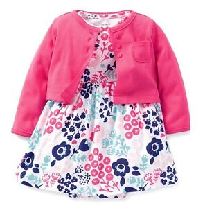 9ca37f49bd324 Carter's Baby girl Cute elegant blue pink floral dress + cotton ...