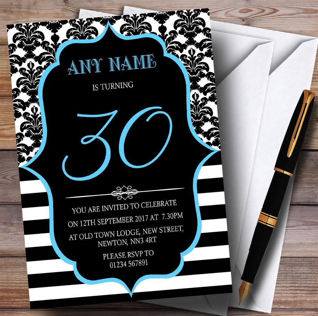 Vintage damassé bleu 30th 30th bleu personnalisé fête d'anniversaire invitations 83eaf3