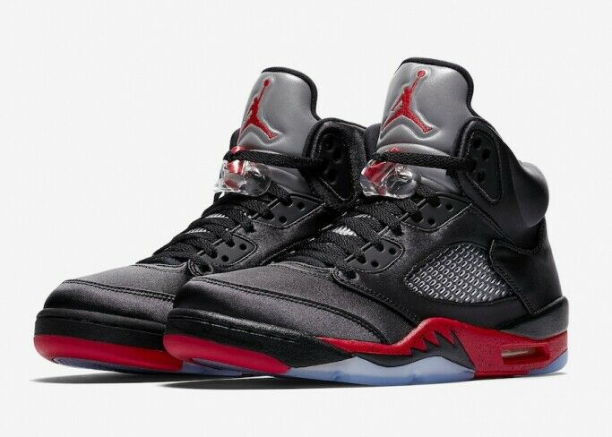 Men's Air Jordan 5 Retro Satin Bred Size 9.5 Black University Red 136027-006