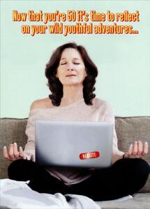 La Foto Se Esta Cargando Meditating Woman With Laptop Funny Humorous 50th Birthday