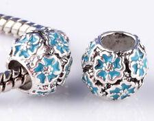 2pcs silver Sky Blue flowers sterling Beads Fit European Charm Bracelet A#870